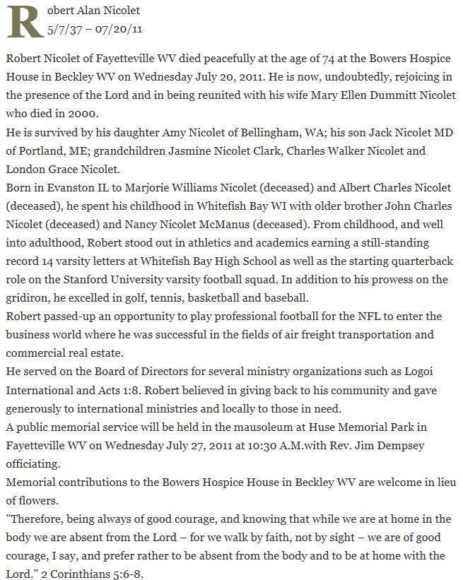 Nicolet Obituary