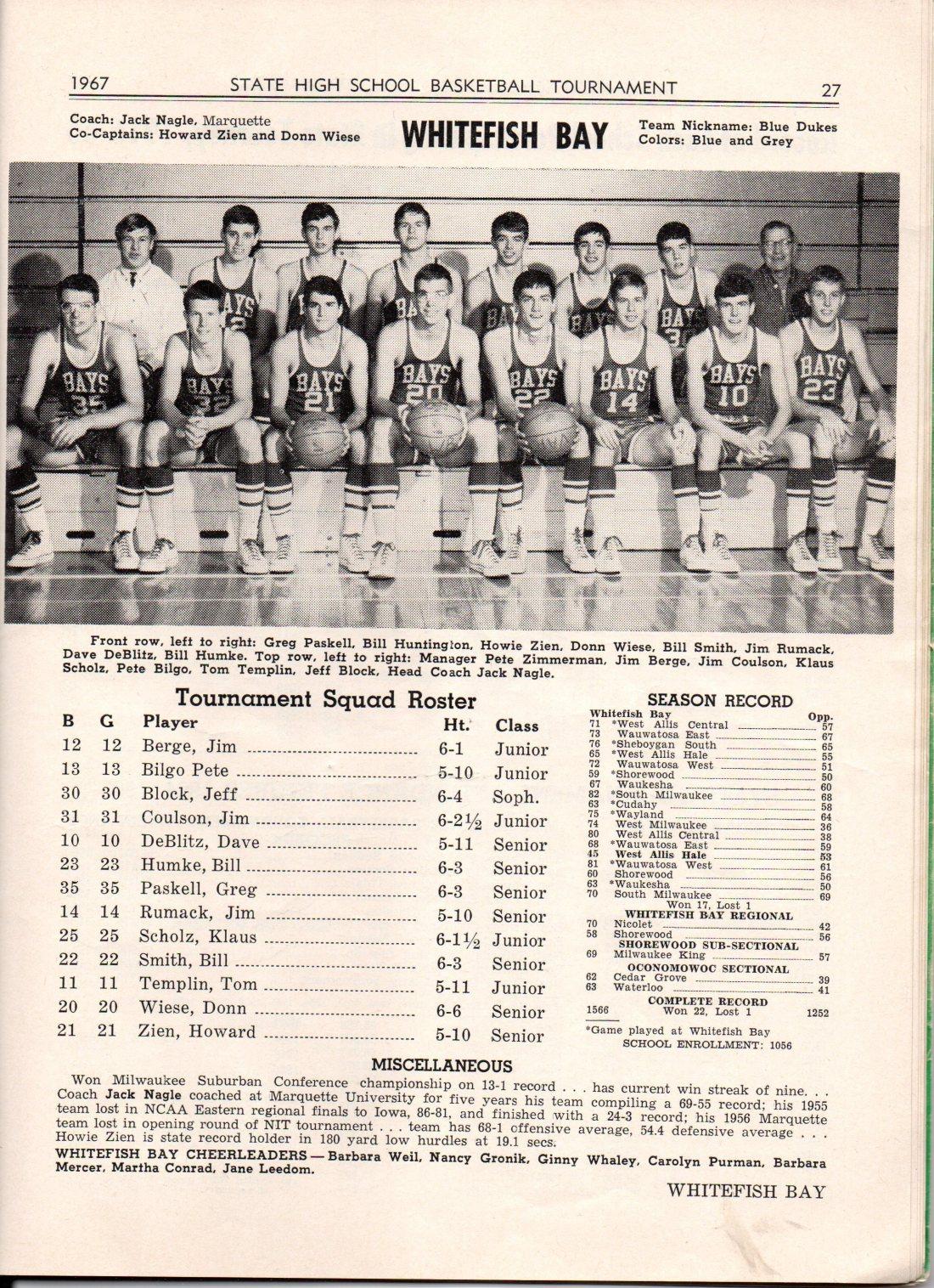 1967 WFB Basketball