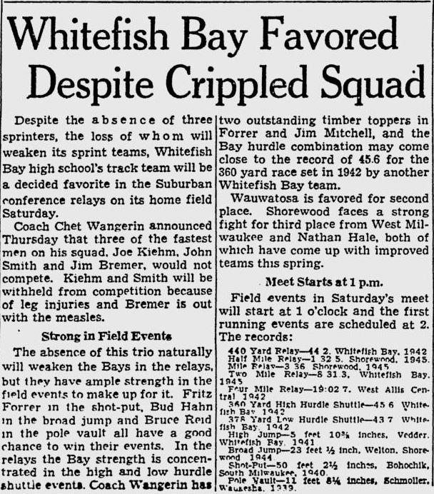 1946 Relays Injuries
